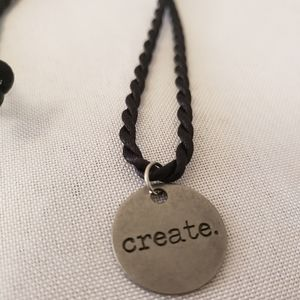 """'Create' stainless steel charm necklace 18"""""""